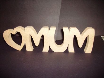 MUM WITH HEART freestanding wooden plaque/mothers day/ birthday/gift